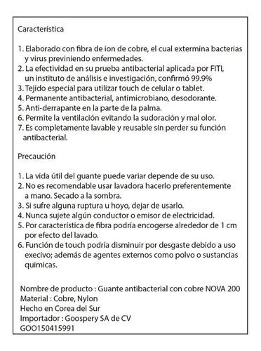 guante antibacterial con cobre reusable lavable de corea