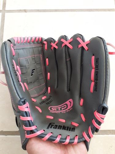 guante beisbol franklin infantil talla 10  1/2  negro rosa