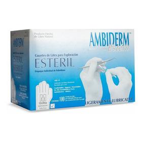 Guante De Latex Ambiderm Esteril Talla Mediano Caja 100 Pz.