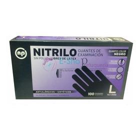 Guante De Nitrilo Np X 100u Negro/celeste - Dis. New Casmont