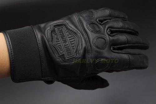 guante de piel para moto logo de harley davidson o e m