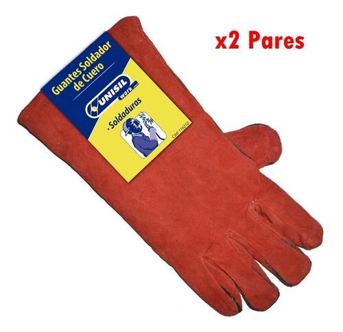 guante de soldador de cuero 40cm x 2 pares unisil g p