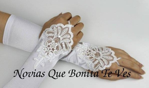 guante guantes novia sin dedos liso y bordado