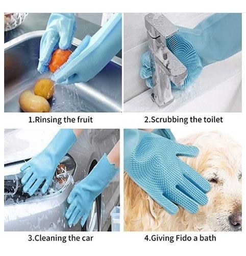 guante lava loza 2x1 cepillo baño mascota pelos reusable