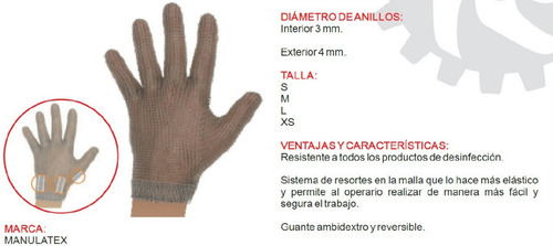 guante manulatex 100 % malla acero inoxidable