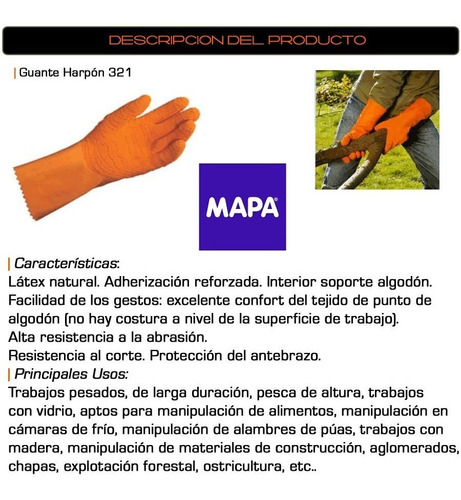 guante mapa latex natural rugoso soportado mod. harpon 321