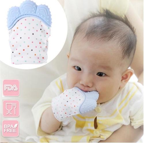 guante mordedera bebe dentición silicón bebé dientes mano