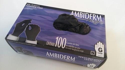guante negro ambiderm latex cj 100 pz
