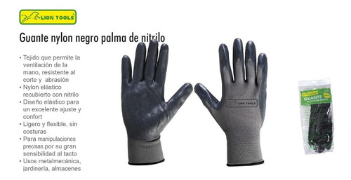 guante negro con palma nitrilo seguridad multiusos