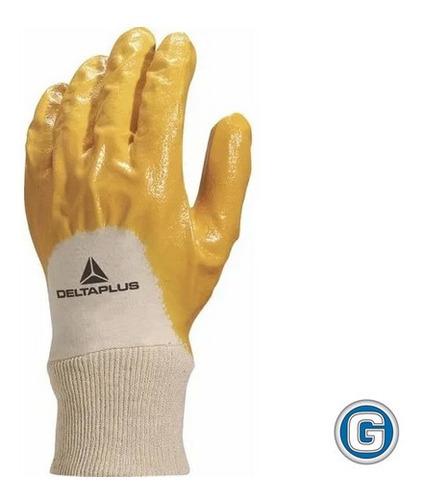 guante nitrilo y algodón deltaplus liviano puño elastizado