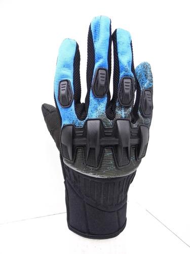 guante para moto mad bike  mad-05 cross protecciones azul.