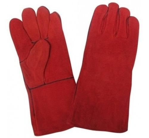 guante para soldador forrado rojo largo soldar