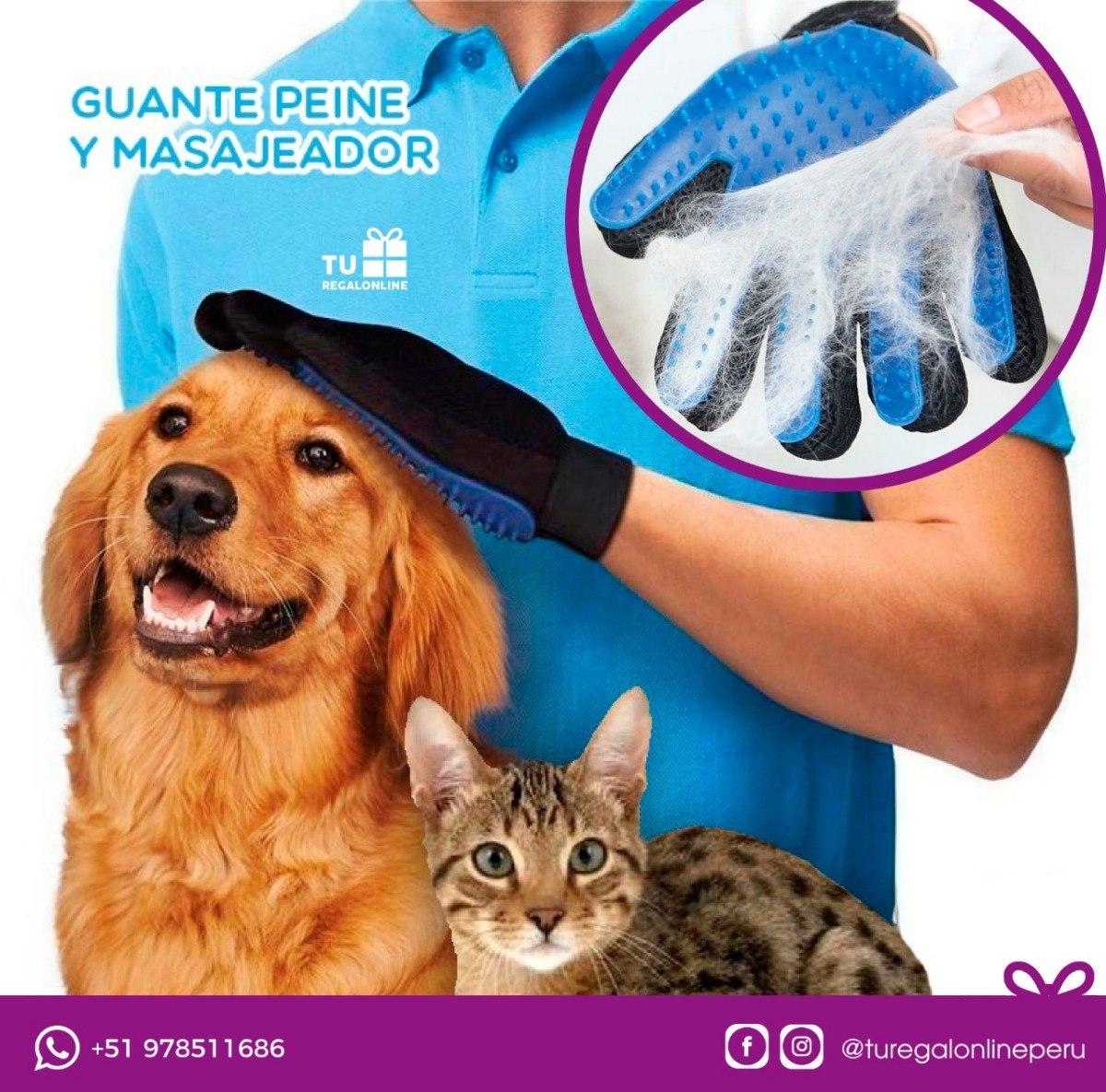 Guante Peina Perro Gato Extractor Pelos Peine Para Mascotas S 19