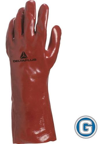 guante pvc soporte jersey de algodón delta plus 35 cm rojo