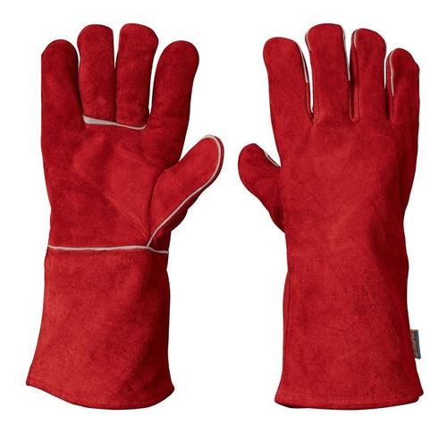 guante rojo de carnaza para soldador  b19458