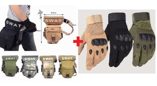 guante tactico militar + muslera swat táctico hiking outdoor