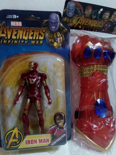guantelete del infinito iron man + figura avengers endgame