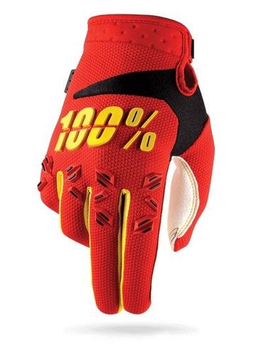 guantes 100% airmatic mx juvenil rojo amarillo md