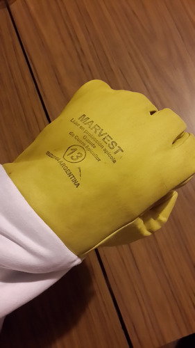 guantes apicultor de 1ra cuero flor talles varios x 12 pares