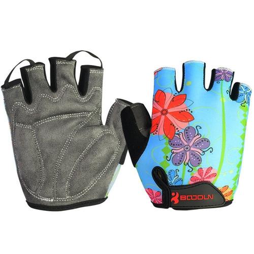 guantes boodun ciclismo bicicleta deportivos azul flores s