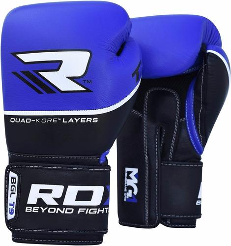 guantes boxeo rdx piel vaca gel muay thai t9 azules 14 oz