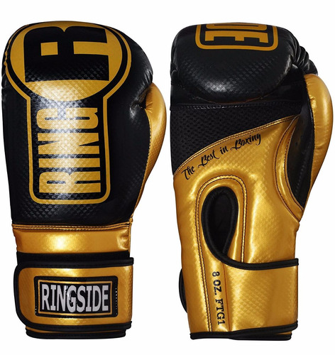 guantes boxeo ringside gel apex muay thai dorado/negro l/xl