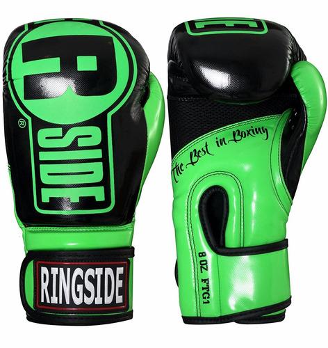 guantes boxeo ringside gel apex muay thai verde/negro l/xl