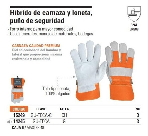 guantes carnaza y loneta uso gral grande truper 14245
