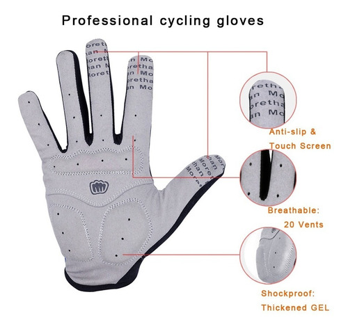 guantes ciclismo bicicleta mtb gel respirables comodos