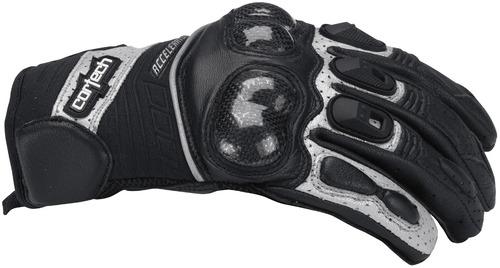 guantes cortech accelerator serie 3 cuero negro/plateado 3xl
