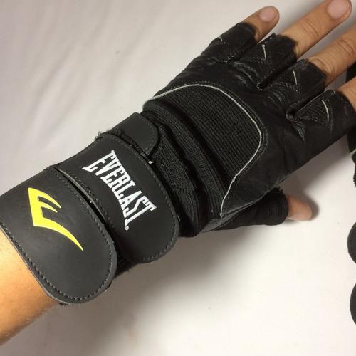 guantes cuero para gym / pesas everlast talla l c/ muñequera