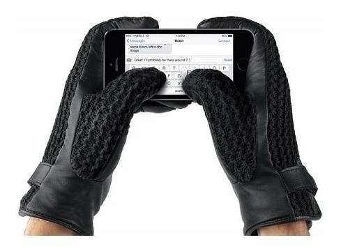 guantes cuero para pantallas touch mujjo negro talla m