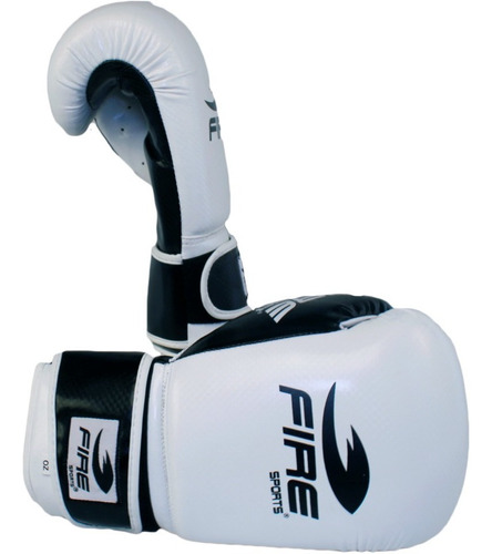 guantes de box muay thai fire sports 12oz o 14oz blanco