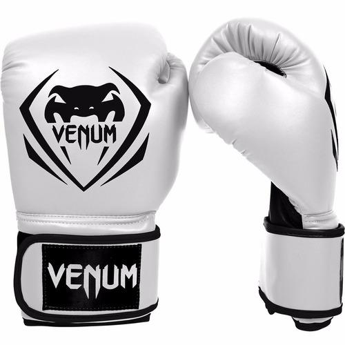 guantes de box venum contender piel sintetica blancos 14 oz