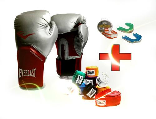 guantes de boxeo everlas + vendas + protector bucal everlast