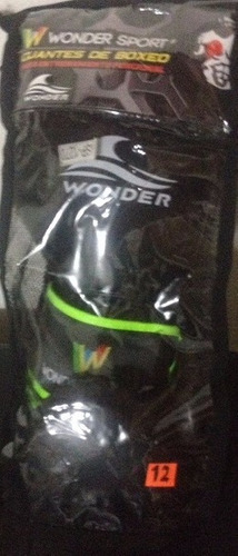 guantes de boxeo wonder 12 onzas color negro verde