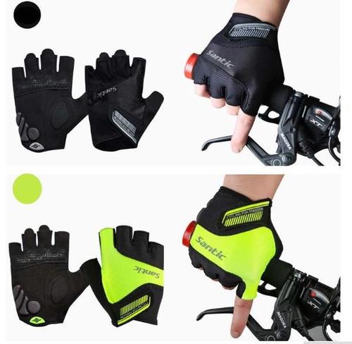 guantes de ciclismo de marca santic medio dedo con  gel
