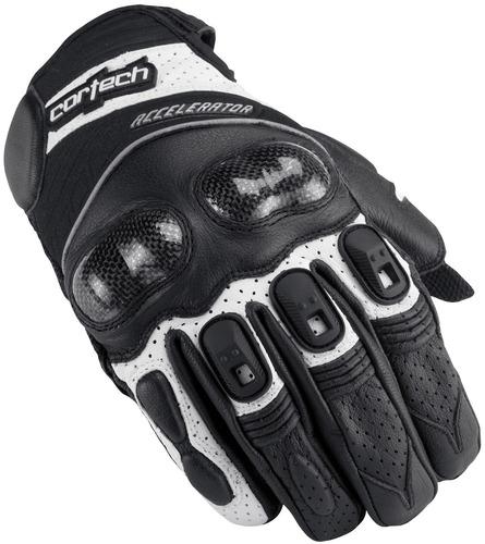 guantes de cuero cortech accelerator serie 3 negro/blanco xs