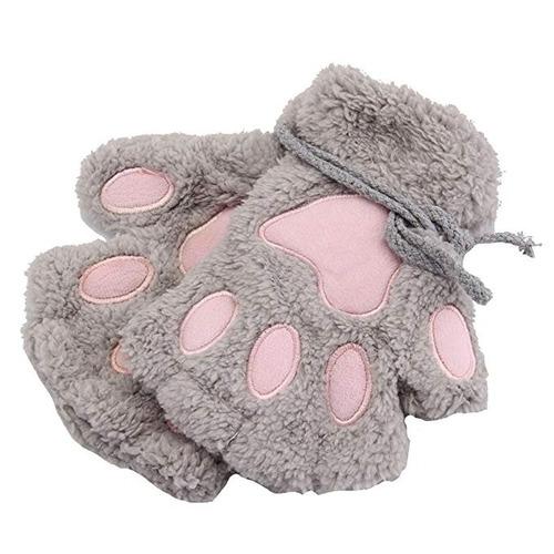 guantes de gato garras de felpa gris huellas neko kawaii