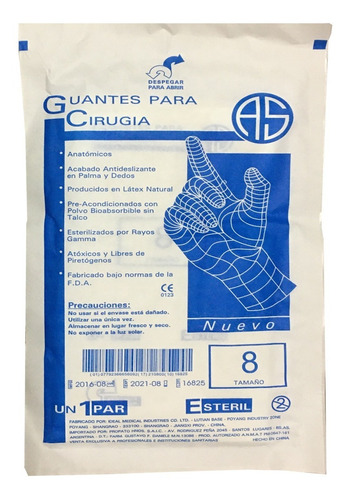 guantes de látex estériles para cirugía x par tamaño 8