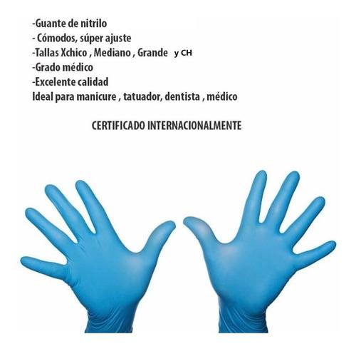 guantes de nitrilo c/100 médico dentista manicure tatto etc