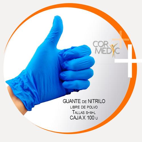 guantes de nitrilo libre de polvo caja 100u / cormedic