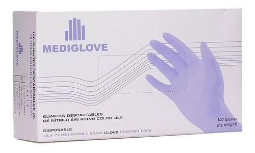 guantes de nitrilo mediglove talle l color lavanda