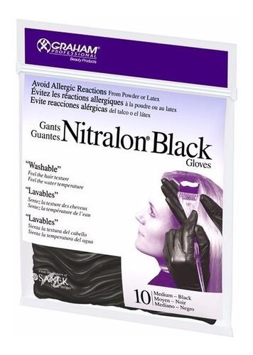 guantes de nitrilo nitralon negro lavables graham pro.
