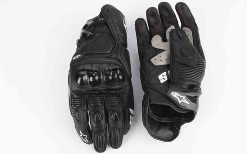 guantes de piel alpinestars negro y blanco modelo s1