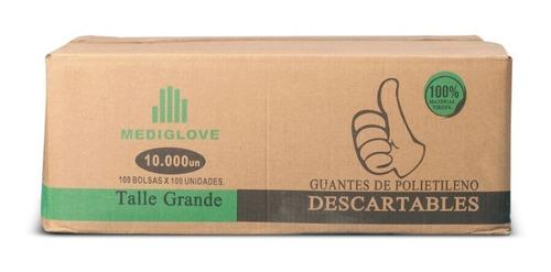 guantes de polietileno - manoplas  (100paqx100un) mediglove