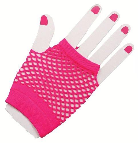 guantes de red rosado corto