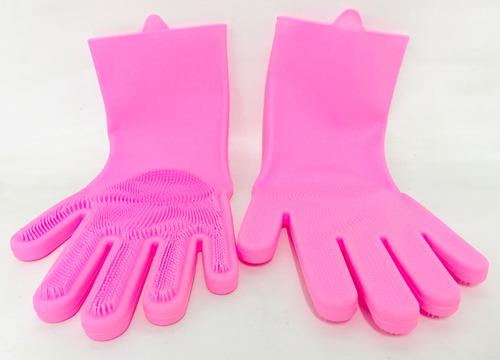 guantes de silicona con cepillo varios colores