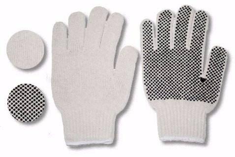 guantes de tela con puntos de pvc tipo carolina, por docena.