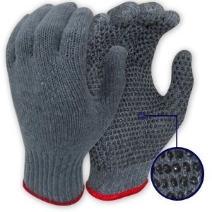 guantes de tela puntos pvc carolina grises 1 par albañil